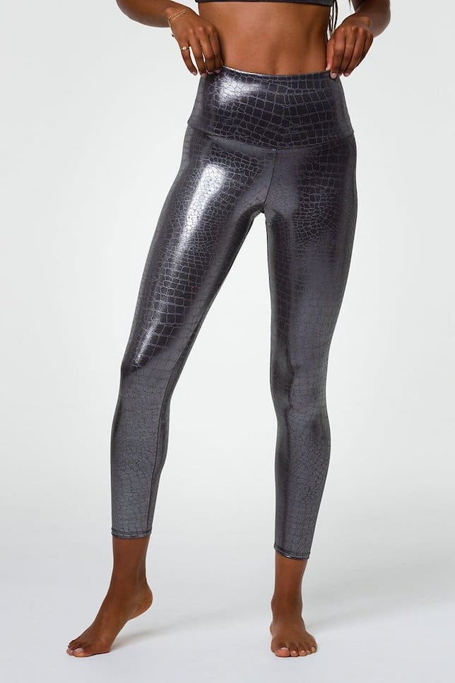 Metallic Look, Leggings, Yoga Tights, Silberne Leggings, Lederleggings, Yoga, Pilates, Fitness, Shinny Leggings, Onzie Leggings