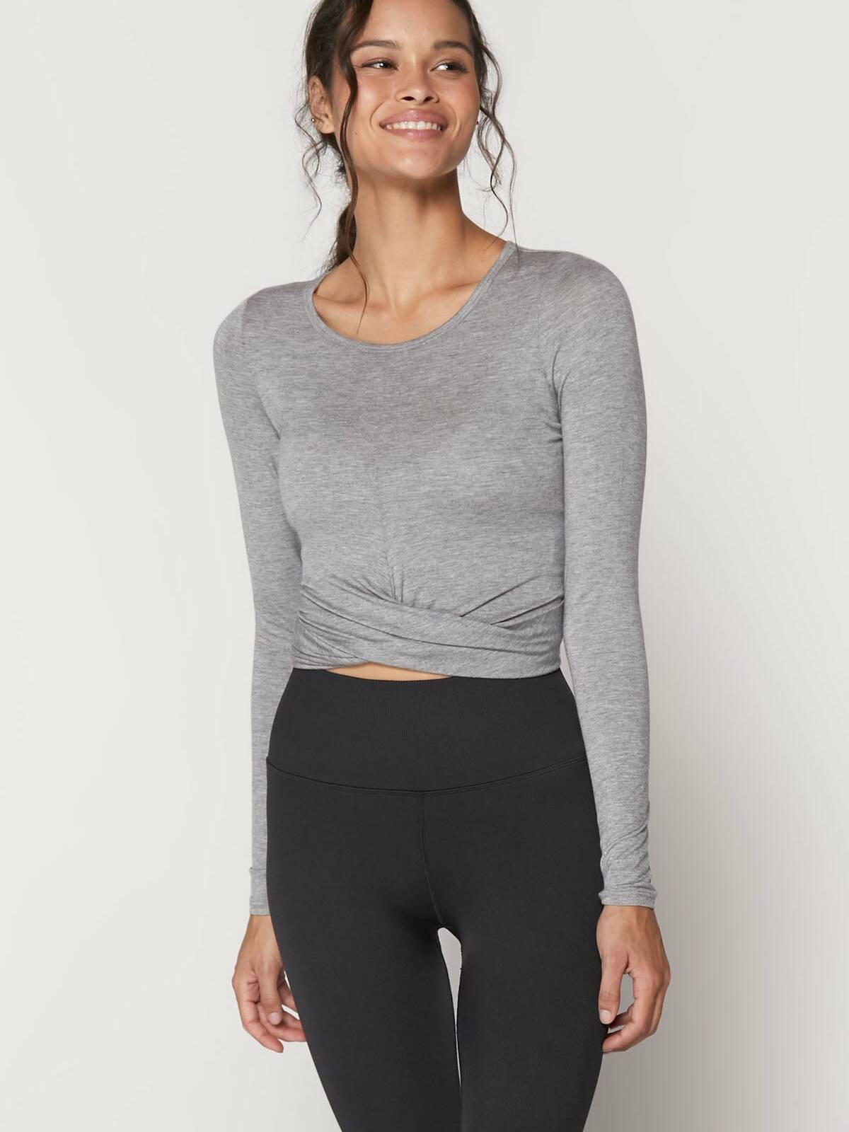 Spiritual Gangster Muse Twist Front Long Sleeve Top Heather Grey